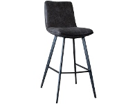 LivingStyles Polly Faux Leather Counter Stool, Set of 2, Dark Grey