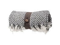 LivingStyles Kingsley Basket Weave Cotton Throw, Charcoal