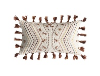 LivingStyles Page Embroidered Cotton Lumbar Cushion