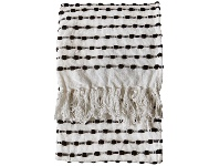 LivingStyles Etta Loop Cotton Throw, Cream