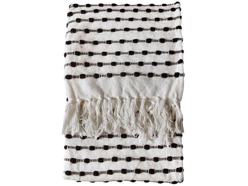Etta Loop Cotton Throw, Cream