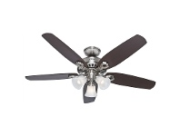 LivingStyles Hunter Builder Plus Brushed Nickel Ceiling Fan with Brazilian Cherry / Burnt Walnut Switch Blades and Lights