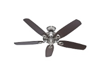 LivingStyles Hunter Builder Elite Brushed Nickel Ceiling Fan with Brazilian Cherry / Maple Switch Blades