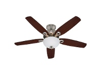 LivingStyles Hunter Builder Deluxe Brushed Nickel Ceiling Fan with Brazilian Cherry / Burnt Walnut Switch Blades & Light