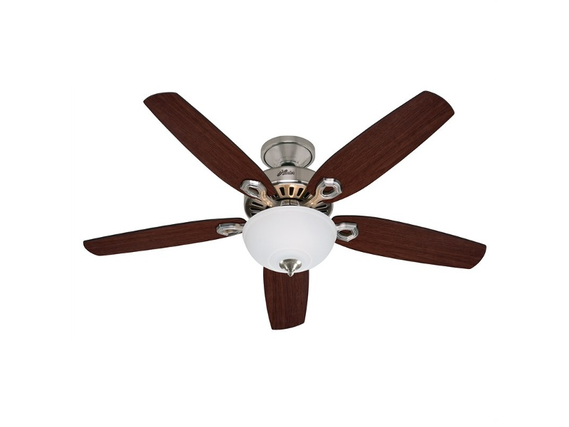Hunter Builder Deluxe Brushed Nickel Ceiling Fan with Brazilian Cherry / Burnt Walnut Switch Blades & Light