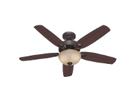 LivingStyles Hunter Builder Deluxe New Bronze Ceiling Fan with Brazilian Cherry / Yellow Walnut Switch Blades & Light