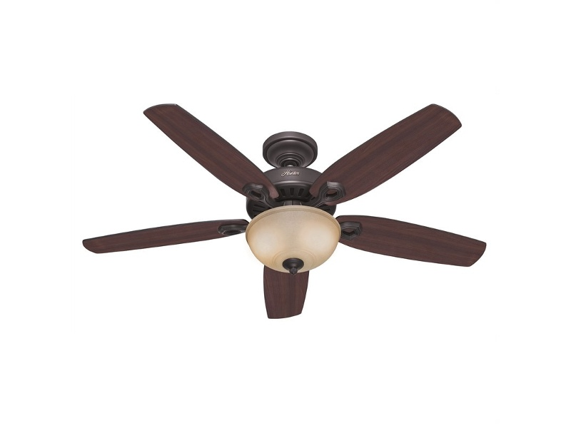 Hunter Builder Deluxe New Bronze Ceiling Fan with Brazilian Cherry / Yellow Walnut Switch Blades & Light