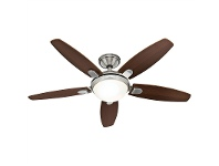 LivingStyles Hunter Contempo Brushed Nickel Ceiling Fan with Dark Walnut / English Cherry Switch Blades