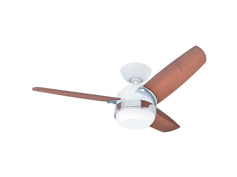 Hunter Nova White Ceiling Fan with Light Brown Blades