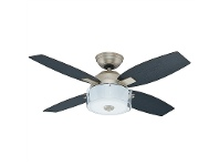 LivingStyles Hunter Central Park Pewter Ceiling Fan with Black Oak / Roasted Oak Switch Blades