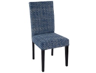 LivingStyles Dane Cotton Fabric Dining Chair, Blue Chevron