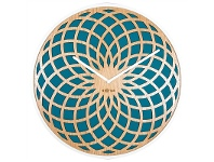 LivingStyles NeXtime Dream Catcher Sun Wooden Round Wall Clock - Turquoise