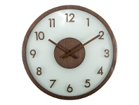 LivingStyles Nextime Frosted Wood and Glass Wall Clock - Brown