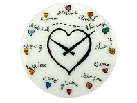 LivingStyles Nextime Loving You Glass Round Wall Clock