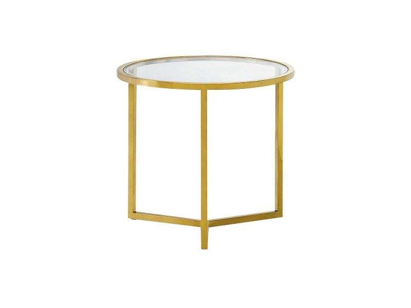 Bianka Tempered Glass & Stainless Steel Round Side Table
