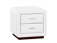 LivingStyles Emily PU Leather Upholstered 2 Drawer Bedside Table