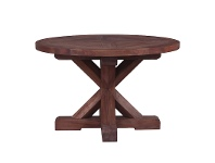 LivingStyles Marseille Mahogany Timber Round Dining Table, 122cm, Natural