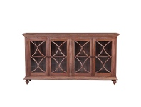 LivingStyles Marseille Mahogany Timber 4 Door Buffet Table, 208cm, Natural