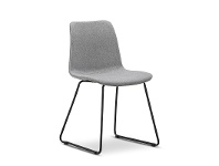 LivingStyles Sadel Fabric Dining Chair, Sleigh Leg, Grey