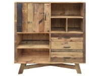 LivingStyles Wheaton Solid Recycled Pine Timber Side Storage Unit