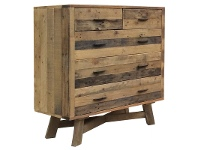 LivingStyles Wheaton Solid Recycled Pine Timber 5 Drawe Tallboy