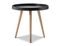 LivingStyles Aerin Retro Wooden 48cm Round Side Table - Black