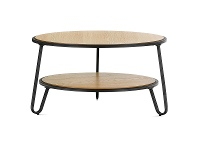 LivingStyles Macy Wood & Stainless Steel Round Coffee Table, 73.5cm, Light Oak / Black