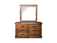 LivingStyles Artemis Pine Timber 6 Drawer Dresser with Mirror