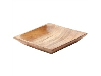 LivingStyles Shallow Teak Wood Square Tray, Small