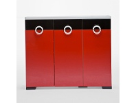 LivingStyles C11 Red and Black Shoe Cabinet with 3 Doors 3 Drawers - 120cm