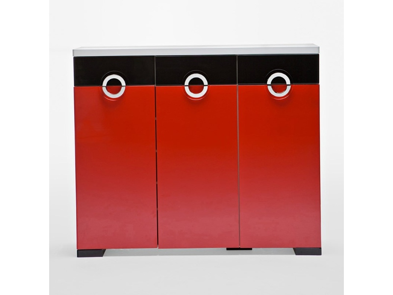C11 Red and Black Shoe Cabinet with 3 Doors 3 Drawers - 120cm