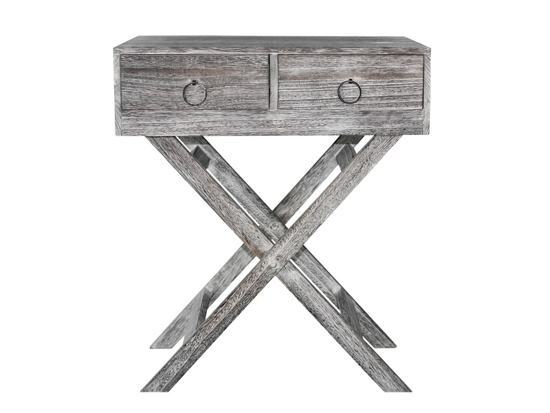 Lorette Paulownia Timber 2 Drawer Side Table, Lime Washed Walnut