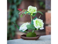 LivingStyles Set of 4 Artificial Table Roses - Light Green