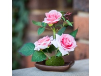 LivingStyles Set of 4 Artificial Table Roses - Pink