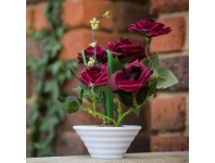 LivingStyles Artificial Roses in Pot - Red