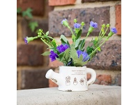 LivingStyles Set of 2 Artificial Plants in Teapot - Violet