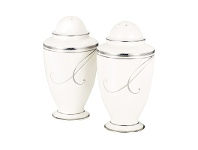 LivingStyles Noritake Platinum Wave Fine China Salt and Pepper Shaker Set