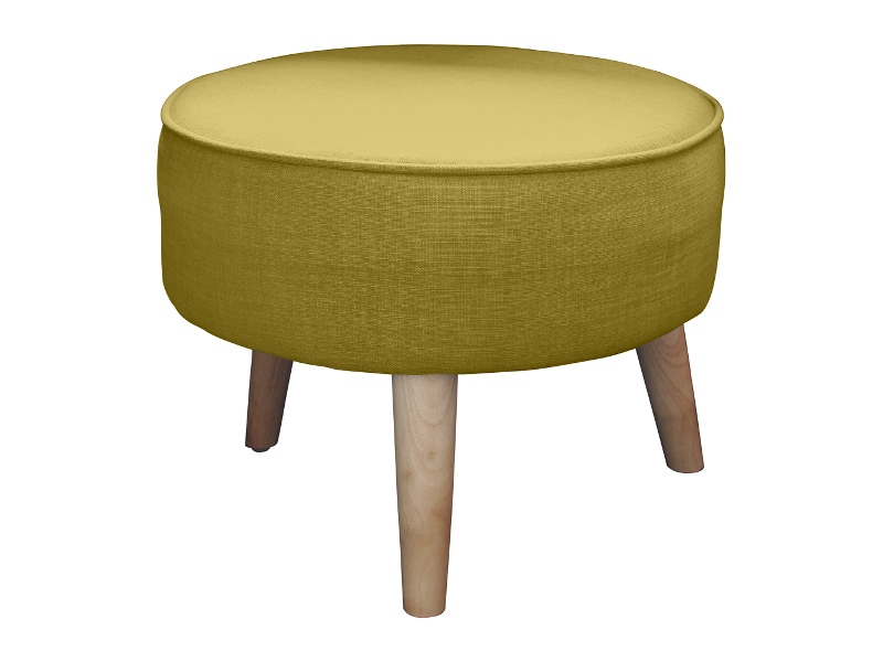Stephano Fabric Round Footstool, Green