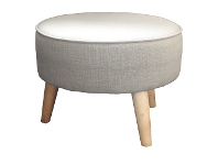 LivingStyles Stephano Fabric Round Footstool - Pumice