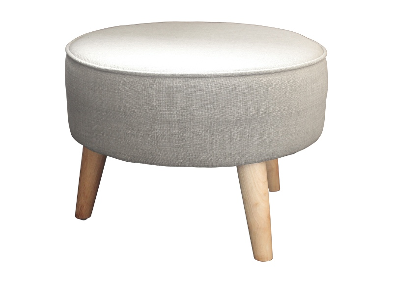 Stephano Fabric Round Footstool - Pumice