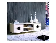 LivingStyles High Gloss Creamy TV Unit and Coffee Table Set