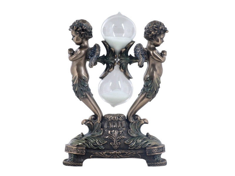 Veronese Cold Cast Bronze Coated Cherubs Praying Hourglass