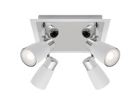 LivingStyles Alecia Metal LED Spotlight, Square, 4 Light, White