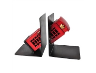 LivingStyles Boutica Handmade Tin Red Telephone Booth Book Ends