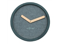 LivingStyles NeXtime Calm Wood and Fabric Round Wall Clock - Turquoise
