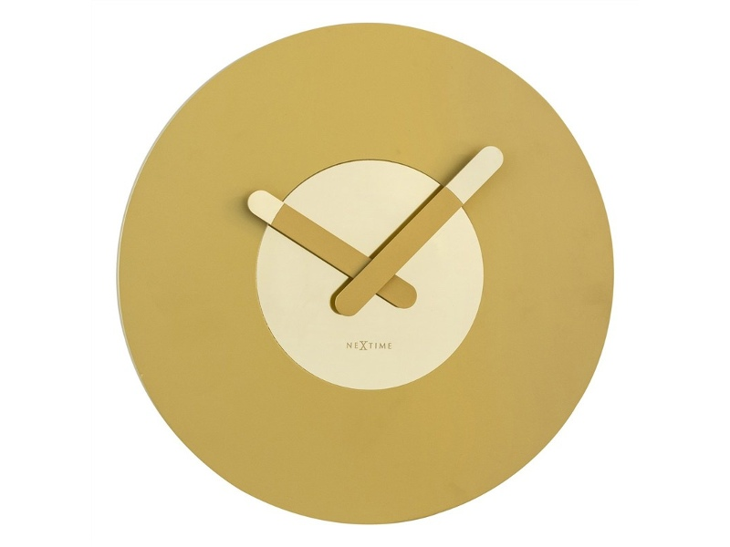Nextime In Touch Wooden Round Wall Clock - Gold