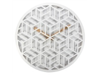 LivingStyles Nextime Discrete Wooden Round Wall Clock - White