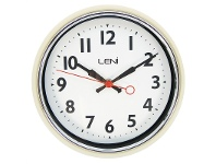 LivingStyles Leni Essential Metal Round Wall Clock - Ivory