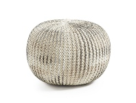 LivingStyles Toroni Knitted Cotton Round Pouf, Silver / White