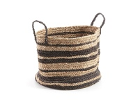 LivingStyles Haus Hand Woven Jute Basket, Natural / Black
